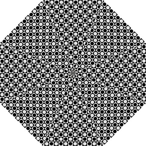 Modern Dots In Squares Mosaic Black White Folding Umbrellas
