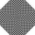 Modern Dots In Squares Mosaic Black White Straight Umbrellas View1