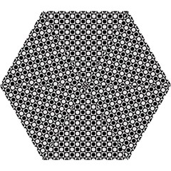 Modern Dots In Squares Mosaic Black White Mini Folding Umbrellas