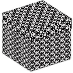 Modern Dots In Squares Mosaic Black White Storage Stool 12