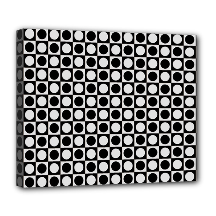 Modern Dots In Squares Mosaic Black White Deluxe Canvas 24  x 20