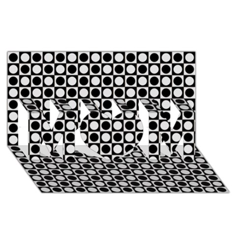 Modern Dots In Squares Mosaic Black White MOM 3D Greeting Card (8x4)