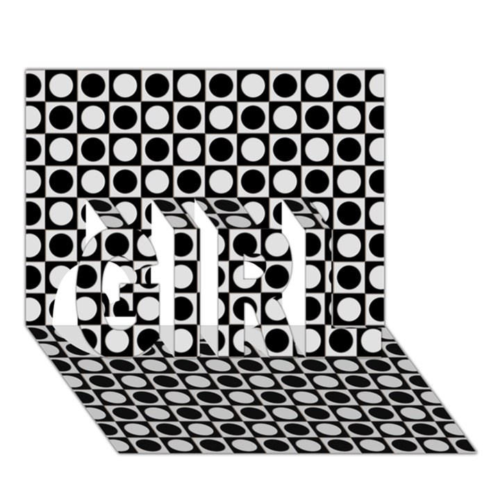 Modern Dots In Squares Mosaic Black White GIRL 3D Greeting Card (7x5)