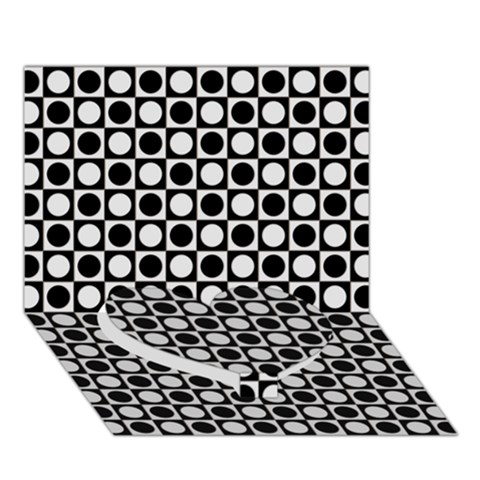 Modern Dots In Squares Mosaic Black White Heart Bottom 3D Greeting Card (7x5)