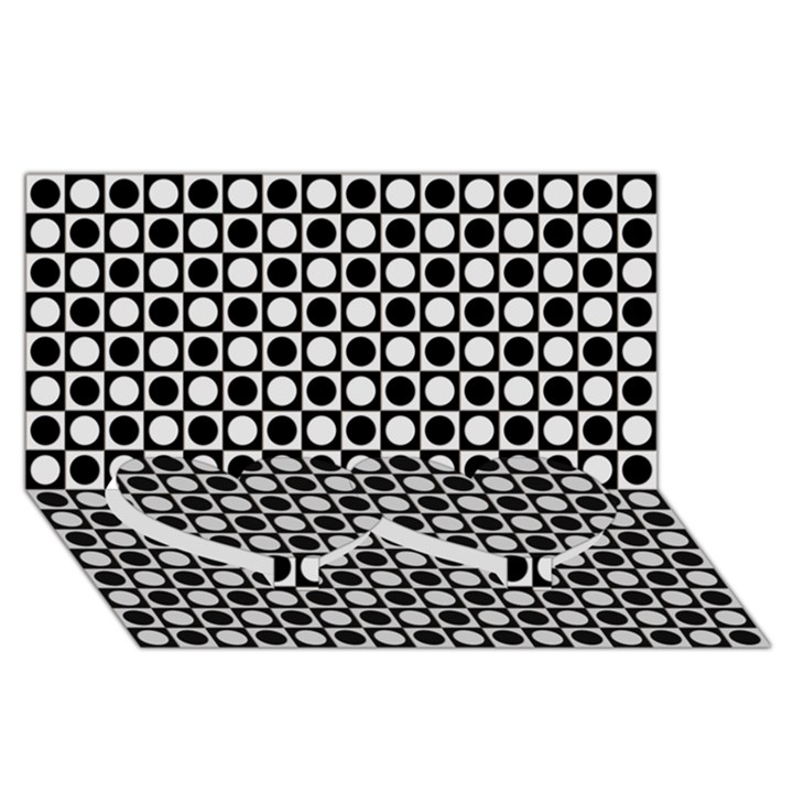 Modern Dots In Squares Mosaic Black White Twin Heart Bottom 3D Greeting Card (8x4)