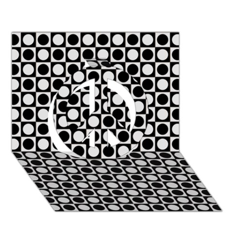 Modern Dots In Squares Mosaic Black White Peace Sign 3D Greeting Card (7x5)