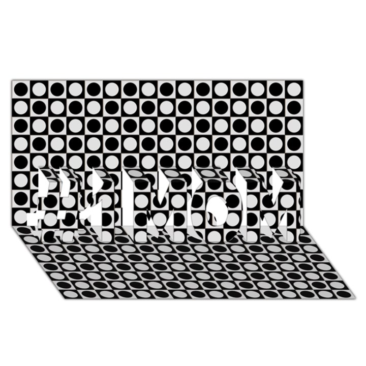 Modern Dots In Squares Mosaic Black White #1 MOM 3D Greeting Cards (8x4)