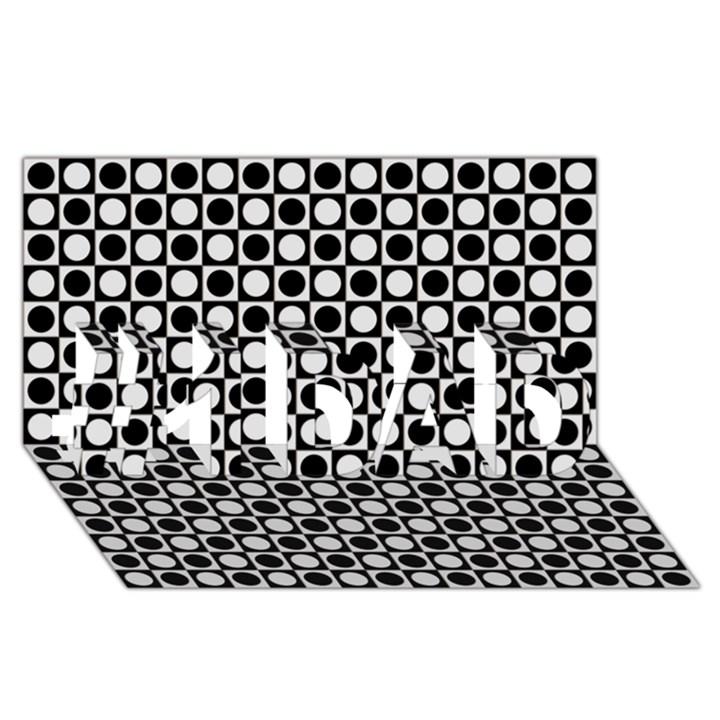Modern Dots In Squares Mosaic Black White #1 DAD 3D Greeting Card (8x4)