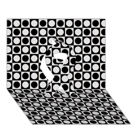 Modern Dots In Squares Mosaic Black White Ribbon 3D Greeting Card (7x5)