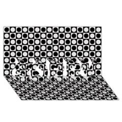 Modern Dots In Squares Mosaic Black White SORRY 3D Greeting Card (8x4)