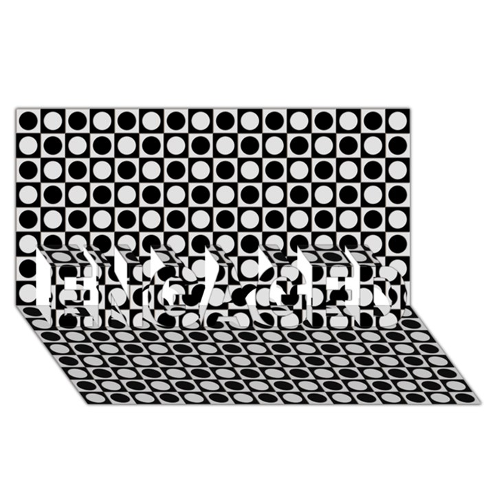 Modern Dots In Squares Mosaic Black White ENGAGED 3D Greeting Card (8x4)