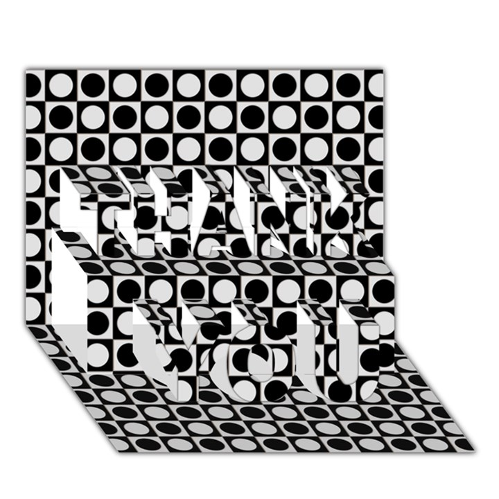 Modern Dots In Squares Mosaic Black White THANK YOU 3D Greeting Card (7x5)
