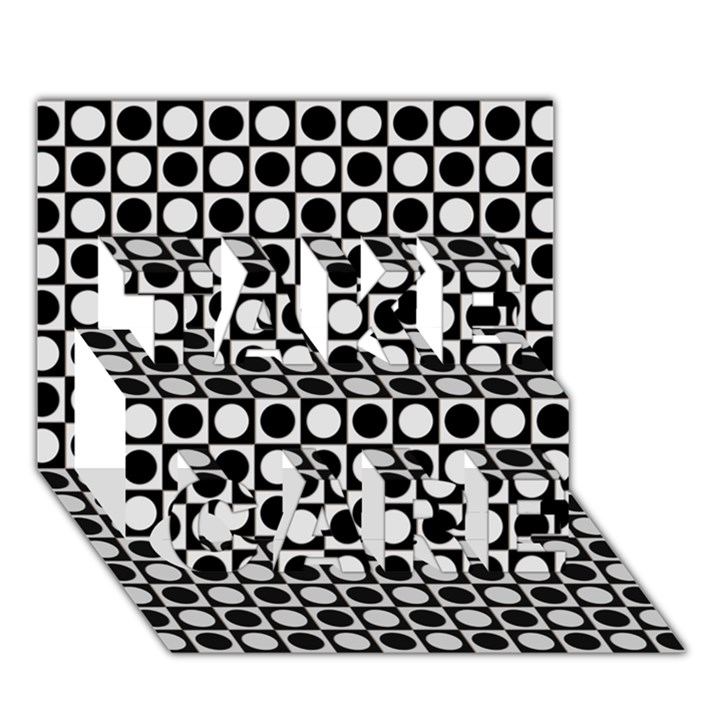 Modern Dots In Squares Mosaic Black White TAKE CARE 3D Greeting Card (7x5)
