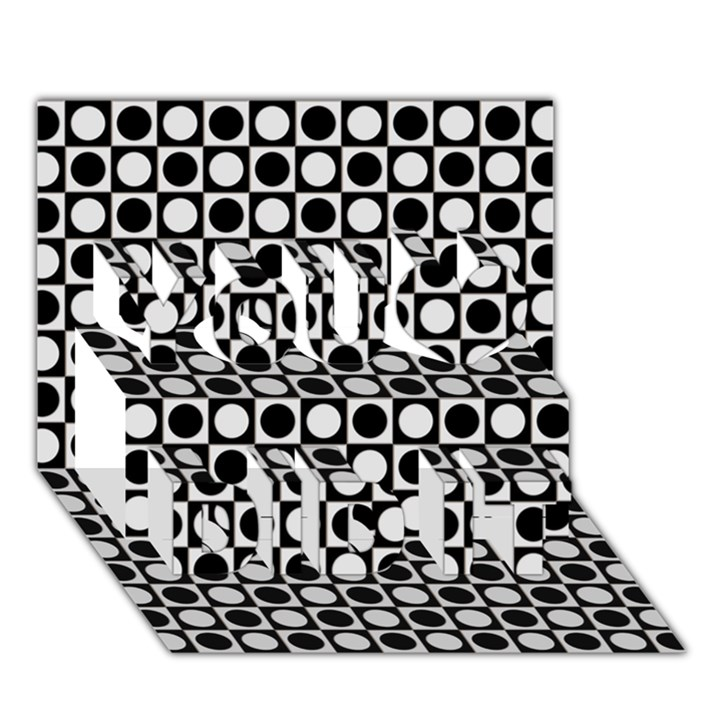 Modern Dots In Squares Mosaic Black White You Did It 3D Greeting Card (7x5)
