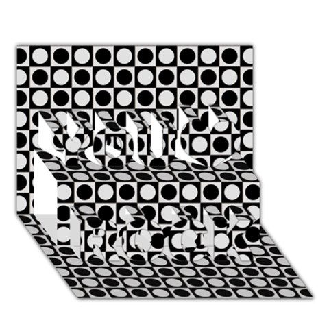 Modern Dots In Squares Mosaic Black White You Rock 3D Greeting Card (7x5)