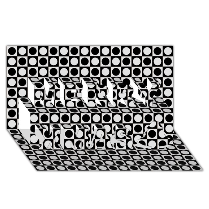 Modern Dots In Squares Mosaic Black White Merry Xmas 3D Greeting Card (8x4)