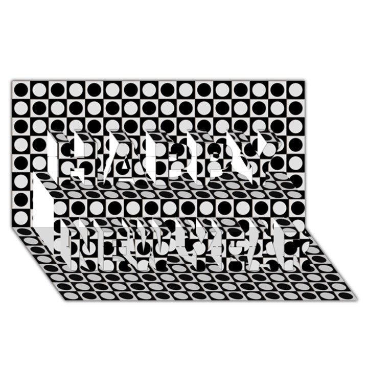 Modern Dots In Squares Mosaic Black White Happy New Year 3D Greeting Card (8x4)