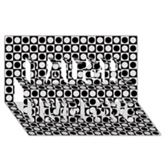 Modern Dots In Squares Mosaic Black White Laugh Live Love 3D Greeting Card (8x4)