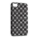 Modern Dots In Squares Mosaic Black White Apple iPhone 4/4S Hardshell Case with Stand View2