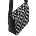 Modern Dots In Squares Mosaic Black White Flap Messenger Bag (S) View2