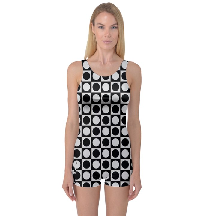 Modern Dots In Squares Mosaic Black White One Piece Boyleg Swimsuit
