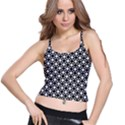 Modern Dots In Squares Mosaic Black White Spaghetti Strap Bra Top View1