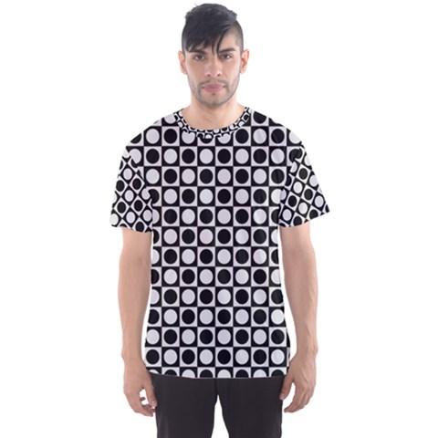 Modern Dots In Squares Mosaic Black White Men s Sport Mesh Tee