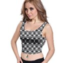 Modern Dots In Squares Mosaic Black White Crop Top View1