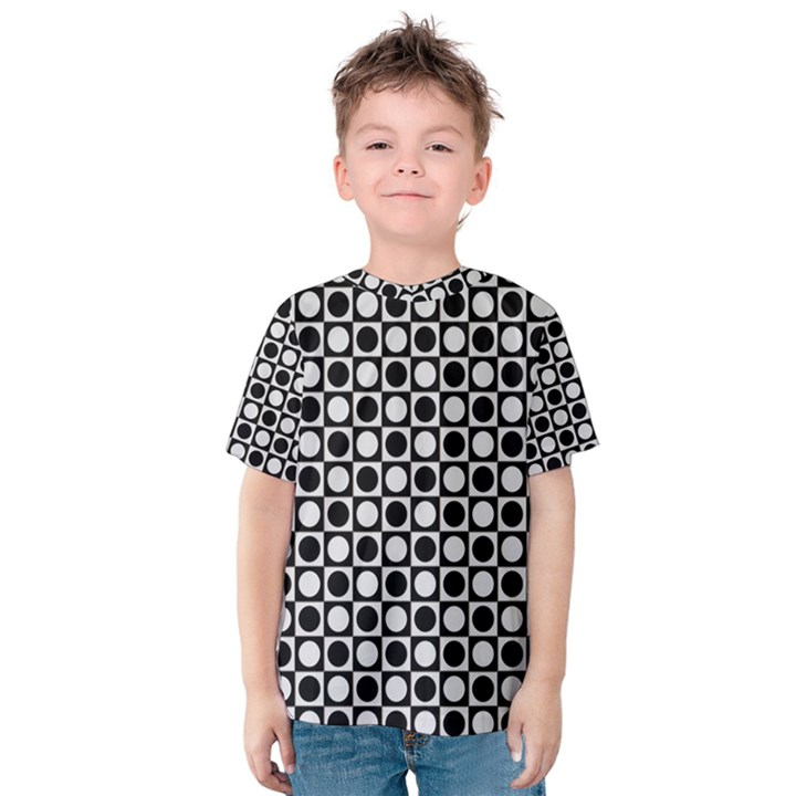 Modern Dots In Squares Mosaic Black White Kids  Cotton Tee