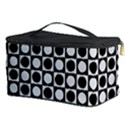 Modern Dots In Squares Mosaic Black White Cosmetic Storage Case View3