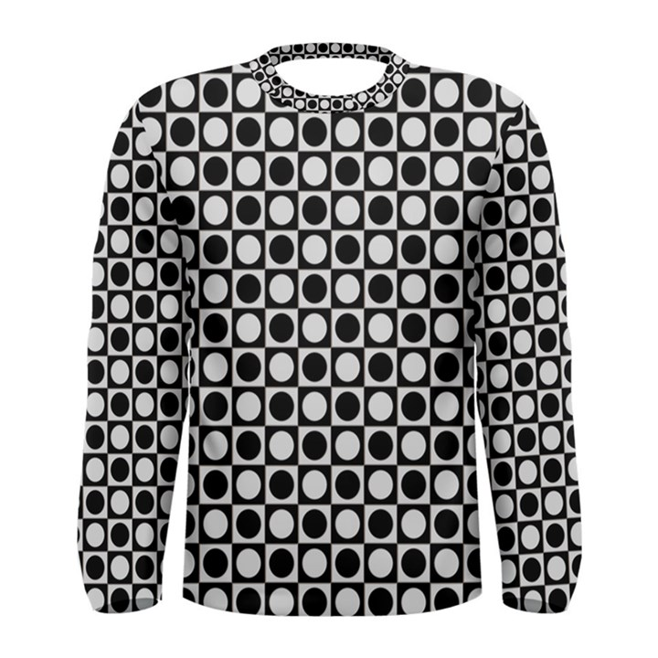 Modern Dots In Squares Mosaic Black White Men s Long Sleeve Tee