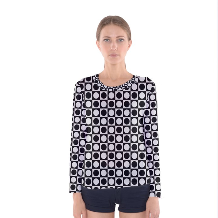 Modern Dots In Squares Mosaic Black White Women s Long Sleeve Tee