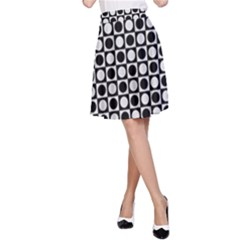 Modern Dots In Squares Mosaic Black White A-Line Skirt