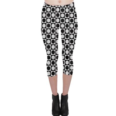 Modern Dots In Squares Mosaic Black White Capri Leggings