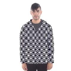 Modern Dots In Squares Mosaic Black White Hooded Wind Breaker (Men)