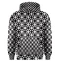 Modern Dots In Squares Mosaic Black White Men s Pullover Hoodie View1
