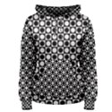 Modern Dots In Squares Mosaic Black White Women s Pullover Hoodie View1