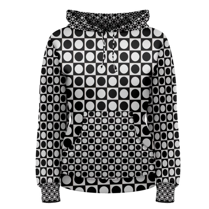 Modern Dots In Squares Mosaic Black White Women s Pullover Hoodie