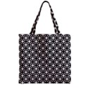 Modern Dots In Squares Mosaic Black White Zipper Grocery Tote Bag View2