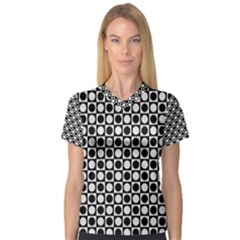Modern Dots In Squares Mosaic Black White Women s V Neck Sport Mesh Tee
