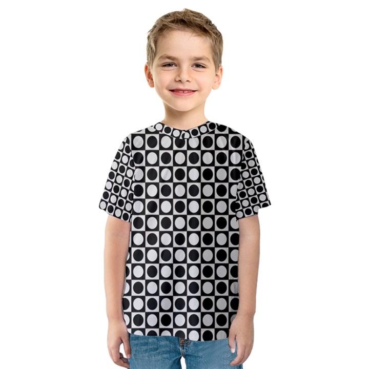 Modern Dots In Squares Mosaic Black White Kids  Sport Mesh Tee