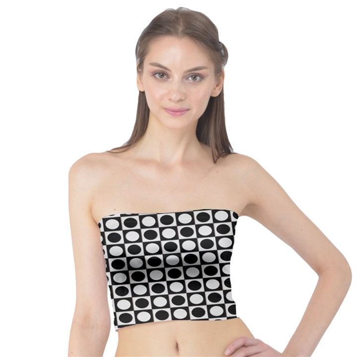 Modern Dots In Squares Mosaic Black White Tube Top