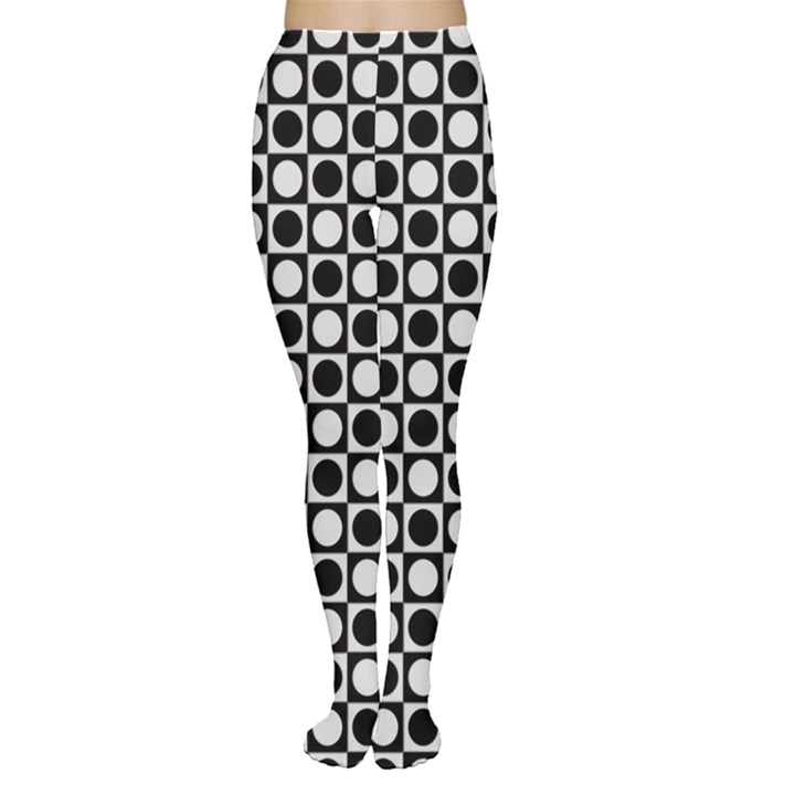 Modern Dots In Squares Mosaic Black White Women s Tights