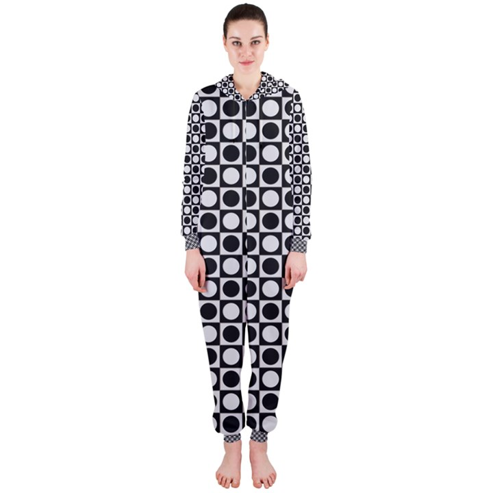 Modern Dots In Squares Mosaic Black White Hooded Jumpsuit (Ladies)