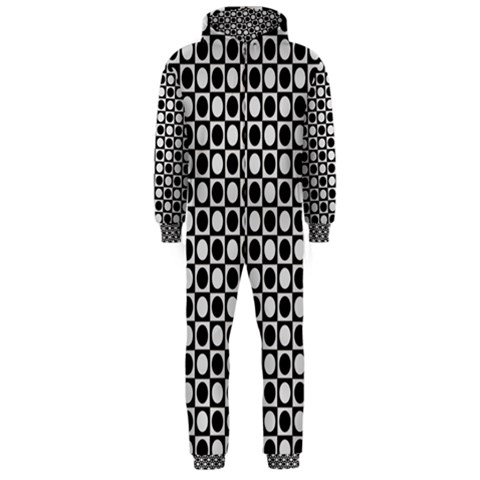 Modern Dots In Squares Mosaic Black White Hooded Jumpsuit (Men)