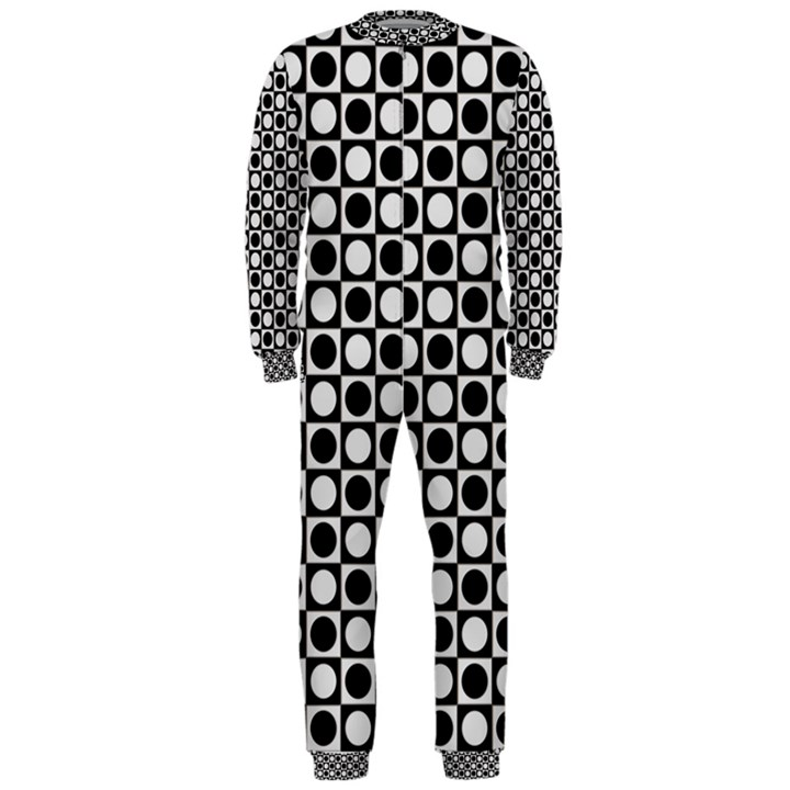 Modern Dots In Squares Mosaic Black White OnePiece Jumpsuit (Men)