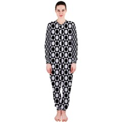 Modern Dots In Squares Mosaic Black White Onepiece Jumpsuit (ladies)