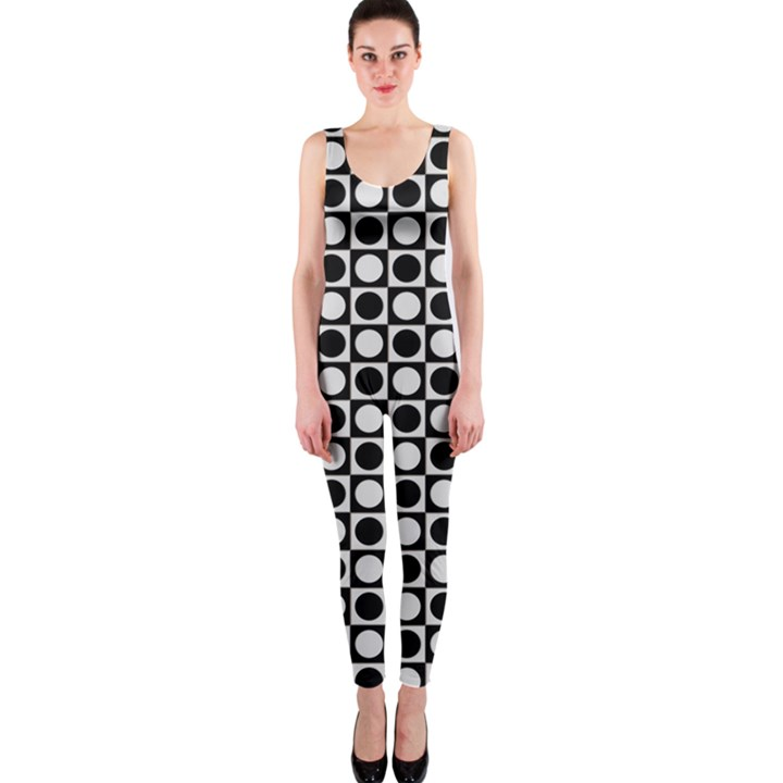 Modern Dots In Squares Mosaic Black White OnePiece Catsuit