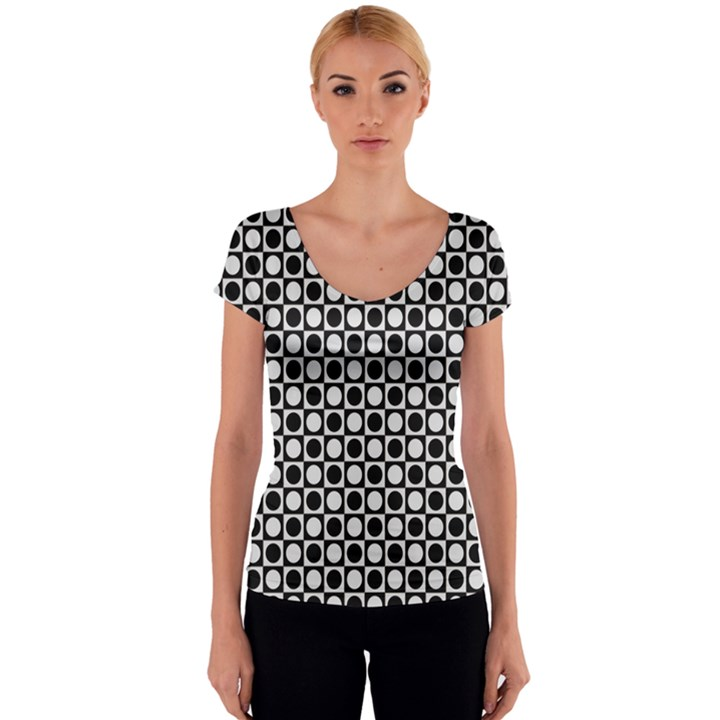 Modern Dots In Squares Mosaic Black White Women s V-Neck Cap Sleeve Top