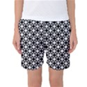 Modern Dots In Squares Mosaic Black White Women s Basketball Shorts View1
